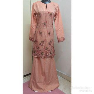 Preloved Baju Kurung Moden Orange Peach