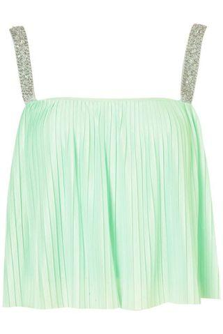 Jewel Straps Pleated Cami Crop Top