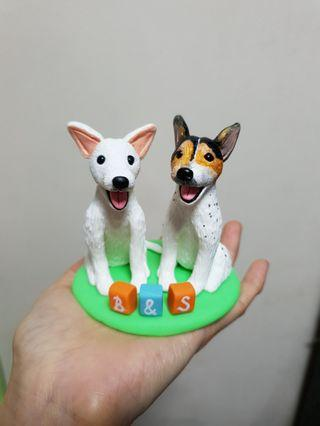 Customise dog figurines JR & maltese made of polymer clay