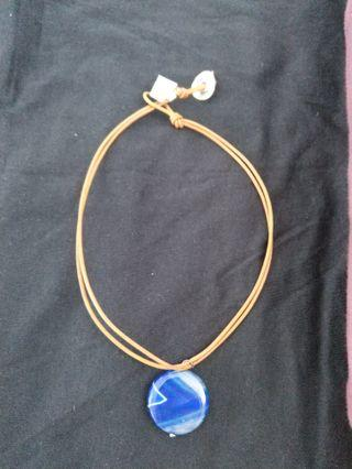 🚚 Athens Protasis Blue Agate stone genuine leather choker