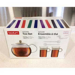 Free Delivery! BODUM ASSAM Glass Teapot With 2 Glass Mugs