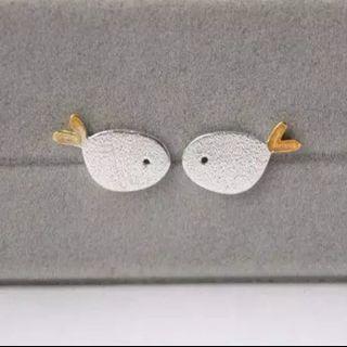 🚚 925 Sterling Silver Earrings Cute Fish Stud Earrings