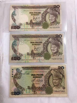 20 Ringgits! Bank Negara Malaysia 3pcs