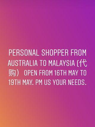 Personal shopper from Australia
