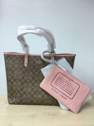 Coach tote 雙面2用 粉色