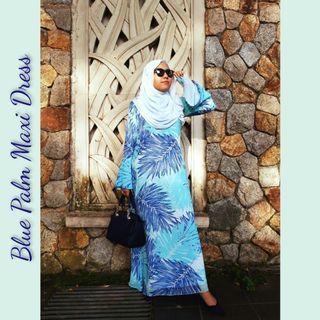 #GayaRaya Raya sales! Ready stock. Blue Palm Maxi Dress
