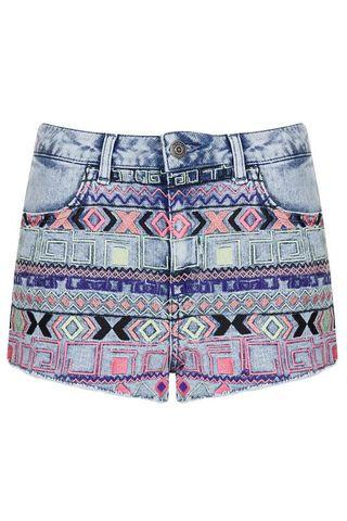 MOTO Acid Aztec Denim Hotpants