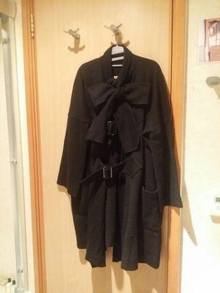 Limi feu 黑色100%羊毛冷織大褸 (到 knee)
