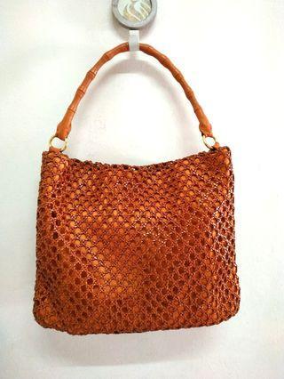 Vintage RE CREATION Genuine Weaved Leather Shoulder Bag