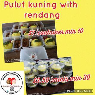 Pulut kuning with rendang