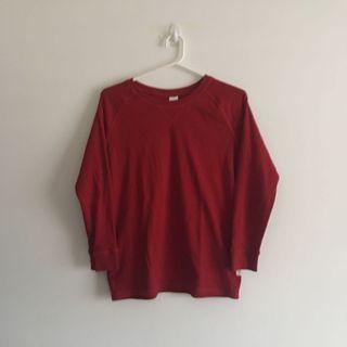 Red Long Sleeve Sweater with Short V Neck