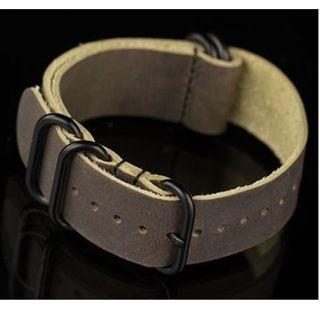 Zulu Genuine Leather Watch Strap - 22mm (Dark Brown) #EST50