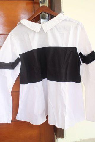 Black And White Top Cotton-ink