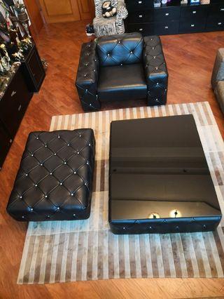 牛皮 sofa chair+茶機枱+沙發櫈 餐桌 組合 家居 leather set