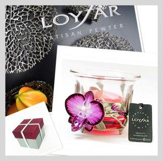 Loyfar Artisan Pewter - Tea Light Orchid Holder with Glass Cylinder