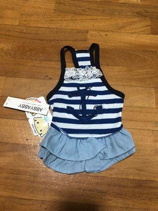 Dog clothes/dress/shirt Cute Blue Anchor/Pirate
