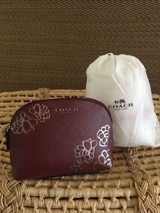 Ready stock: Coach Complimentary Floral Etched Burgundy Silver Cosmetic Bag