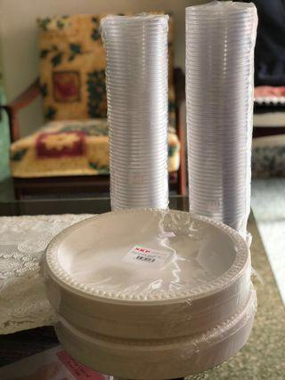 (CLEARANCE) Disposable plastic plates and cups