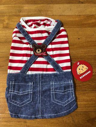 Striped teddy bear dog clothes, denim