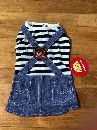 Striped teddy bear dog clothes/shirt