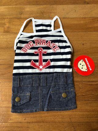 Dog pirate shirt/dress, striped denim