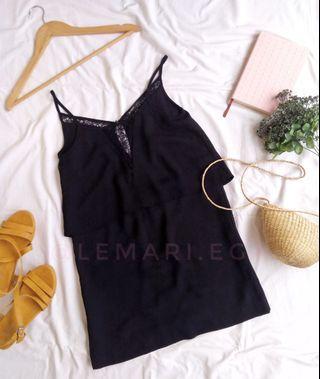 MANGO Lace Trim Flounce Black Dress