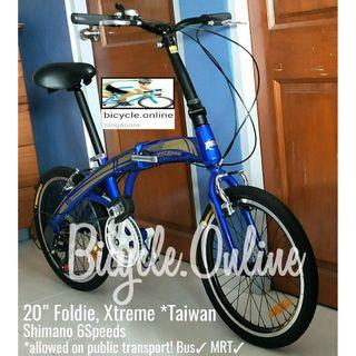 "20"" Foldie, Xtreme *Taiwan ✩ Shimano 6 Speeds ✩ compact,  fits nicely into car boots! ✩ officially allowed on public transport  ✩ Brand New Bicycles"