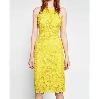 Zara Yellow Lace Dress