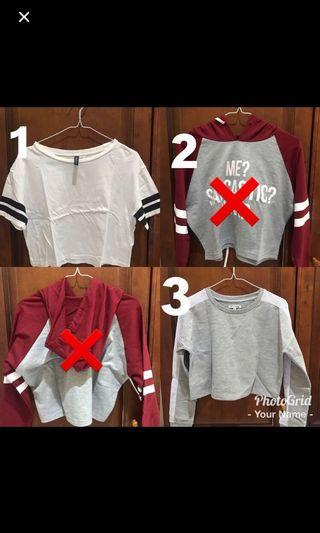 1. H&M whote top 2. Colorbox hoodie 3.colorbox sweater
