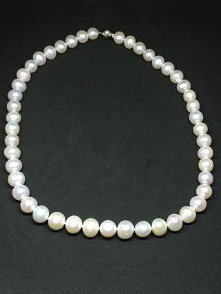 925純銀淺粉色天然珍珠頸鍊