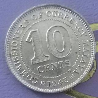 A Nice Malaya King George VI 10 Cent Coin of Year 1945
