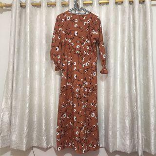 Dress Gamis Bunga Coklat