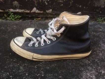 🚚 converse皮質黑色高筒帆布鞋