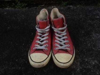 🚚 converse皮質紅色高筒帆布鞋