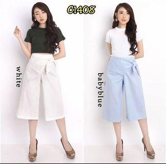 Basic Culottes in White and Baby Blue