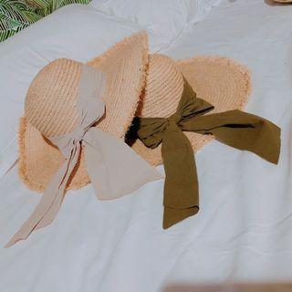 天然拉菲草米綠布結圓頂拉菲毛邊大檐帽蝴蝶結大草帽
