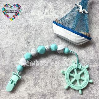 Handmade customised Pacifier Clip + Mint Helm teether combo