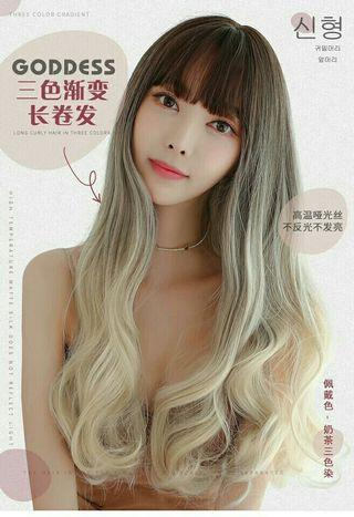 (NO INSTOCKS!)Preorder korean lolita natural Air bangs three tone gradient wavy long wig*waiting time 15 days after payment is made*chat to buy to order
