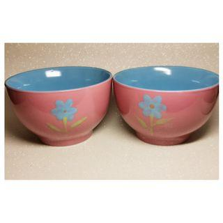 Vintage Porcelain Hand Printed Flower Soup Bowl x 2