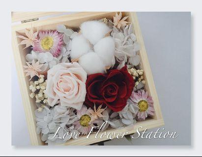 Preserved Rose and Cotton With Dried Flower Bouquet Box Design / Mother's Day Gift / Birthday Gift
