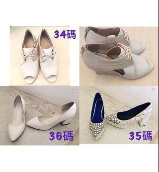 白色高踭鞋 white high heel 35-36碼