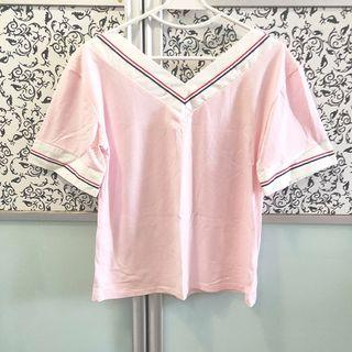 BNWT Pink Oversized Tee with Stripes, V Neck Collar T Shirt