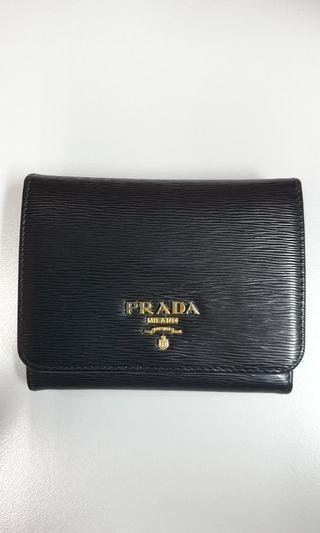 Preloved Authentic Prada Trifold Saffiano Wallet 1MH176