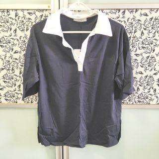 🚚 BNWT Dark Blue Tee with White Collar, V Neck Collar T Shirt