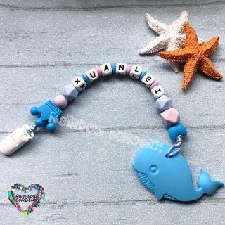 Handmade Pacifier Clip with Customised name letter beads + blue whale Teether