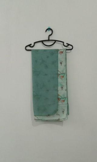 Kerudung Segiempat Double Layer Motif Sifon Polos Hicon warna Hijau Toska / Mint / Dusty Tosca - bisa Syar'i