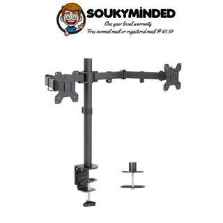 """[IN-STOCK] VIVO Dual LCD LED Monitor Desk Mount Stand with C-clamp and Bolt-Through Grommet Options 