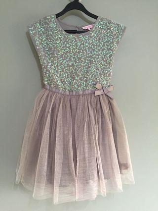 Gray Sequence Tulle Short Dress