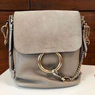 Chloe Faye Suede backpack (Beige grey)