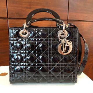 Dior LadyDior Bag (黑色漆皮)